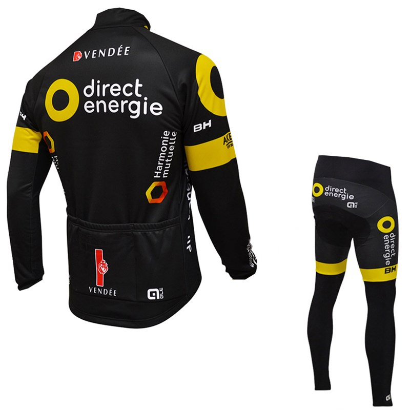 2016 direct energie Thermal Fleece Cycling Jersey Ropa Ciclismo Winter Long Sleeve and Cycling Pants ropa ciclismo thermal ciclismo jersey thermal