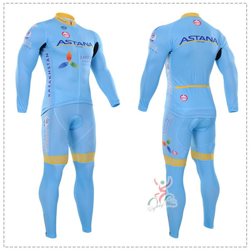 2016 astana Thermal Fleece Cycling Jersey Ropa Ciclismo Winter Long Sleeve and Cycling Pants ropa ciclismo thermal ciclismo jersey thermal