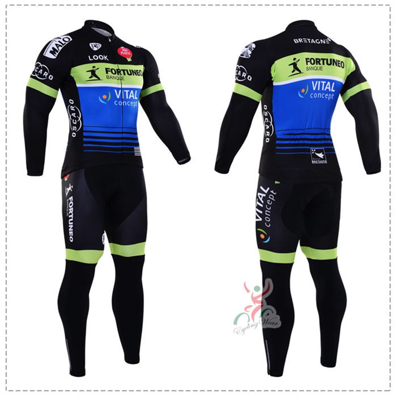0 2016 Fortuneo Banque Vital Concept Thermal Fleece Cycling Jersey Ropa Ciclismo Winter Long Sleeve and Cycling Pants ropa ciclismo thermal ciclismo jersey thermal
