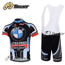 2012 BMW  Cycling Jersey Short Sleeve and Cycling bib Shorts Cycling Kits Strap S