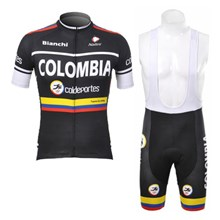 2012 colombia coldeportes Cycling Jersey Short Sleeve and Cycling bib Shorts Cycling Kits Strap S