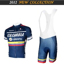 2012 colombia Cycling Jersey Short Sleeve and Cycling bib Shorts Cycling Kits Strap S