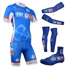 2014 fdj fr Cycling Jersey Maillot Ciclismo Short Sleeve and Cycling bib Shorts Or Shorts and Shoe Cover and Arm Sleeve and Leg Sleeve Tour De France