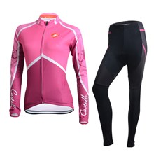 2014 CASTELLI Women Cycling Jersey Long Sleeve and Cycling Pants Cycling Kits XXS