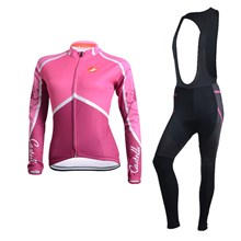 2014 Castelli Womens Cycling Jersey Long Sleeve and Cycling bib Pants Cycling Kits Strap