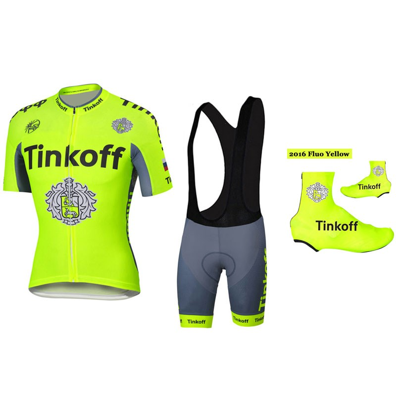 2016 Tinkoff Saxo Bank Fluo Yellow Cycling Jersey Maillot Ciclismo ... 18e881cfe
