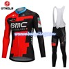 2018 BMC Cycling Jersey Long Sleeve and Cycling bib Pants Cycling Kits Strap S