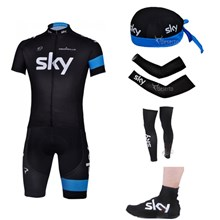 2013 sky Cycling Jersey+Shorts+Scarf+Arm sleeves+Leg sleeves+Shoes covers