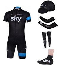 2013 sky Cycling Jersey+Shorts+Cap+Arm sleeves+Leg sleeves+Shoes covers