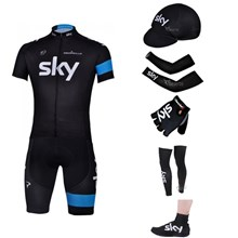 2013 sky Cycling Jersey+Shorts+Cap+Arm sleeves+Gloves+Leg sleeves+Shoes covers