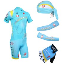 2013 astana Cycling Jersey+Shorts+Scarf+Arm sleeves+Gloves