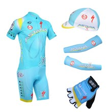 2013 astana Cycling Jersey+Shorts+Cap+Arm sleeves+Gloves