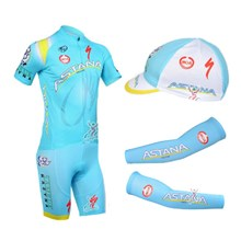 2013 astana Cycling Jersey+Shorts+Cap+Arm sleeves