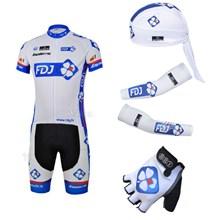2013 fdj Cycling Jersey+Shorts+Scarf+Arm sleeves+Gloves