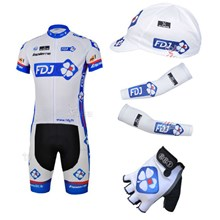 2013 fdj Cycling Jersey+Shorts+Cap+Arm sleeves+Gloves