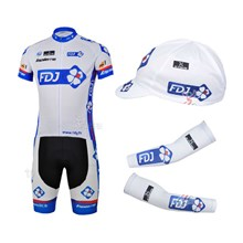2013 fdj Cycling Jersey+Shorts+Cap+Arm sleeves