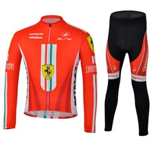 2013 Ferrari Thermal Fleece Cycling Jersey Long Sleeve and Cycling Pants Cycling Kits S
