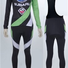 2012 women subaru   Cycling Jersey Long Sleeve and Cycling bib Pants Cycling Kits Strap