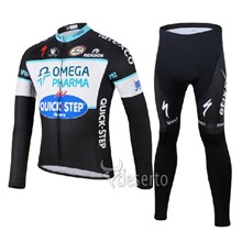 2014 QUICK STEP Thermal Fleece Cycling Jersey Long Sleeve and Cycling Pants Cycling Kits