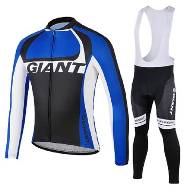 2014 GIANT blue Thermal Fleece Cycling Jersey Long Sleeve and Cycling Bib Pants Cycling Kits Strap