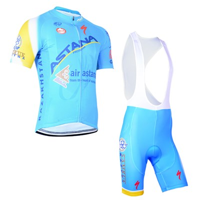 2014 Astana Cycling Jersey Short Sleeve and Cycling bib Shorts Cycling Kits Strap