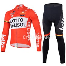 2014 LOTTO BELISOL Thermal Fleece Cycling Jersey Long Sleeve and Cycling Pants