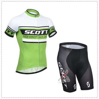 2014 SCOTT Green Cycling Jersey Short Sleeve and Cycling Shorts Cycling Kits