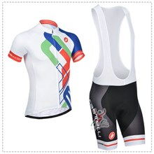 2014 castelli White blue Cycling Jersey Short Sleeve and Cycling bib Shorts Cycling Kits Strap