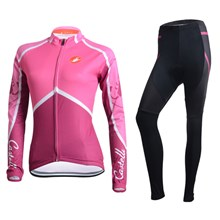 2014 Women CASTELLI Thermal Fleece Cycling Jersey Long Sleeve and Cycling Pants