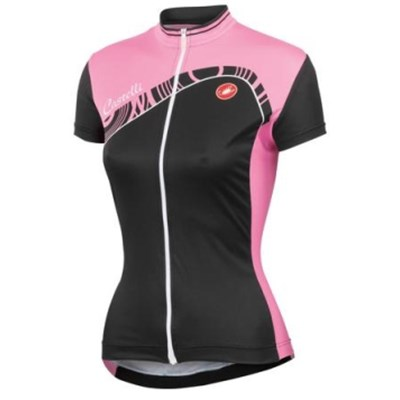 2014 Women Castelli Pink Black Cycling Jersey Short Sleeve Only Cycling Clothing