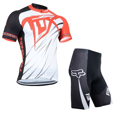 2014 Fox White Red Cycling Jersey Short Sleeve and Cycling Shorts Cycling Kits