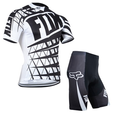 2014 Fox White Black Cycling Jersey Short Sleeve and Cycling Shorts Cycling Kits