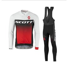 2017 scott Cycling Jersey Long Sleeve and Cycling bib Pants Cycling Kits Strap