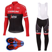 2017 TREK SEGAFREDO Red  Cycling Jersey Long Sleeve and Cycling bib Pants Cycling Kits Strap