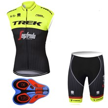 2017 TREK SEGAFREDO Fluo Yellow Cycling Vest Maillot Ciclismo Sleeveless and Cycling Shorts Cycling Kits cycle jerseys Ciclismo bicicletas