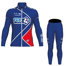 2017 FDJ Blue Cycling Jersey Long Sleeve and Cycling Pants Cycling Kits