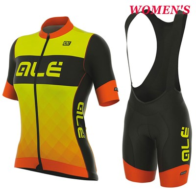 2017 Women s ALE R-EV1 RUMBLES ORANGE YELLOW FLUO Cycling Jersey Maillot  Ciclismo Short Sleeve and Cycling bib Shorts Cycling Kits Strap cycle  jerseys ... 6d378de00